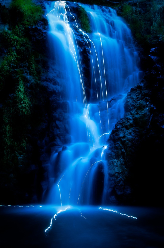 light stream in waterfall